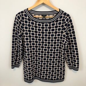 Talbots navy, white & tan link merino wool sweater